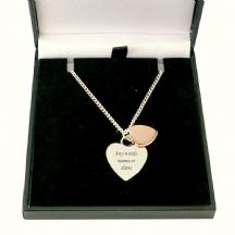Two Hearts Necklace with Engraving